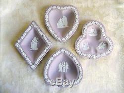 Wedgwood Lilas Jasperware Pelle, Coeur, Club Et Plaques De Diamant Ensemble Pont