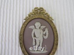 Wedgwood Lilas Trempé Jasperware 19ème Siècle Médaillon Ovale En Bronze Doré