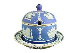 Wedgwood Porcelaine Jasperware Bleu Foncé Jarre De Miel Et Couvercle Plaque De Base Jointe 1900