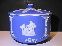 Wedgwood Trempette Bleu Foncé Jasper Ware Rond Bonbon V. 1910