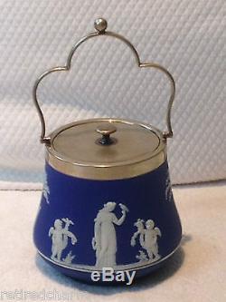 Wedgwood Véry Jasperware Bleu Biscuit Biscuit Bidon Barrel Argent Couvercle C 1891